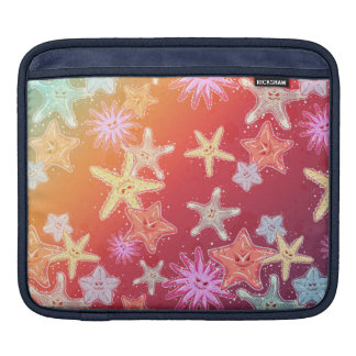 Funny Starfish in a colorful rainbow style pattern iPad Sleeve