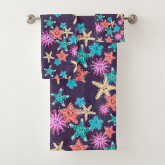 Funny Starfish pattern in a deep-coloured style Bath Towel Set