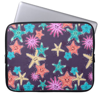 Funny Starfish pattern in a deep-coloured style Laptop Sleeve