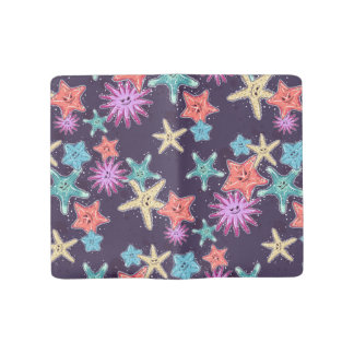 Funny Starfish pattern in a deep-coloured style Large Moleskine Notebook