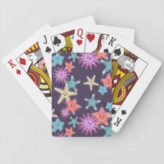 Funny Starfish pattern in a deep-coloured style Playing Cards