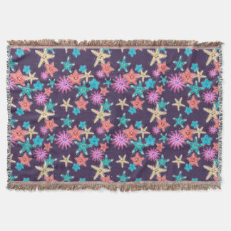 Funny Starfish pattern in a deep-coloured style Throw Blanket