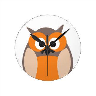 Funny staring cartoon owl clock