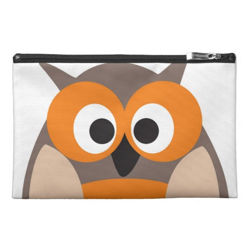 Funny staring cartoon owl Cosmetic Bag