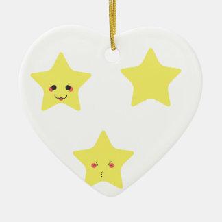 Funny stars ceramic heart ornament