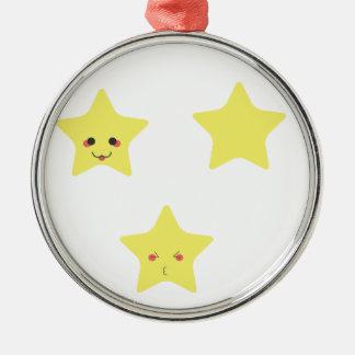 Funny stars Silver-Colored round ornament