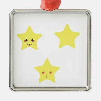 Funny stars Silver-Colored square ornament
