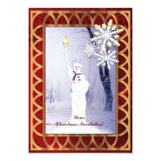 "Funny statue of Liberty snowman Christmas 5"" X 7"" Invitation Card"