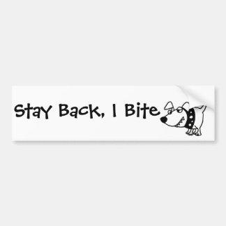 Funny Stay Back I Bite Dog Cartoon Bumper Sticker