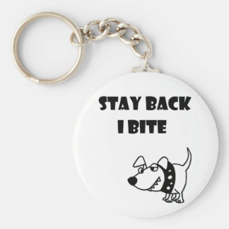 Funny Stay Back I Bite Dog Cartoon Keychain
