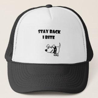 Funny Stay Back I Bite Dog Cartoon Trucker Hat