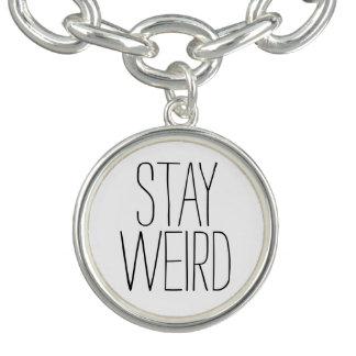 Funny stay weird black white trendy hipster humor bracelet