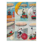 funny steampunk air machines wacky inventions postcard