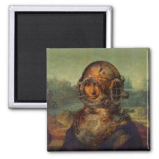 Funny Steampunk Diver's Helmet Mona Lisa da Vinci Square Magnet