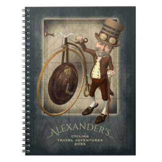 Funny Steampunk Victorian Cyclists Penny Farthing Notebooks