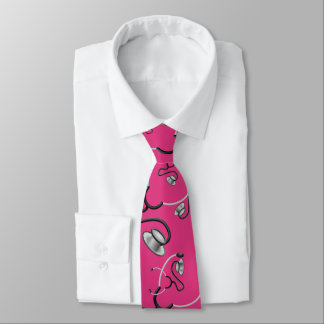Funny stethoscopes for doctors on deep pink tie