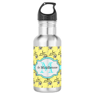 Funny stethoscopes for doctors on yellow name 532 ml water bottle