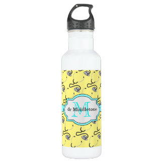 Funny stethoscopes for doctors on yellow name 710 ml water bottle