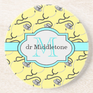 Funny stethoscopes for doctors on yellow name coaster