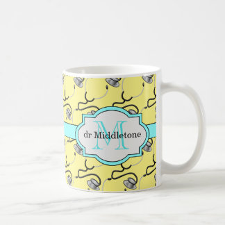 Funny stethoscopes for doctors on yellow name coffee mug