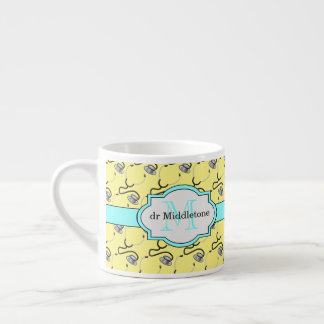Funny stethoscopes for doctors on yellow name espresso cup