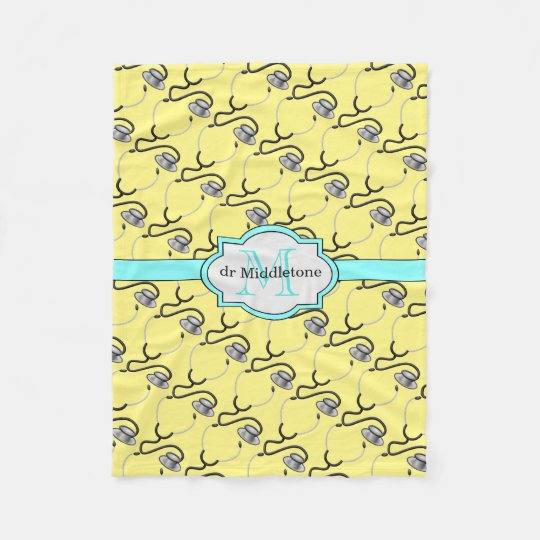 Funny stethoscopes for doctors on yellow name fleece blanket