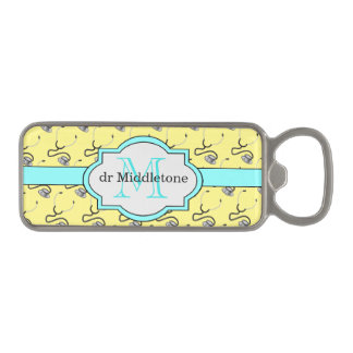 Funny stethoscopes for doctors on yellow name magnetic bottle opener