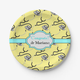 Funny stethoscopes for doctors on yellow name paper plate