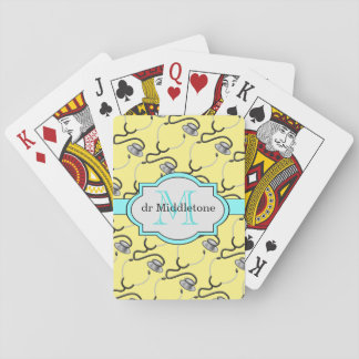 Funny stethoscopes for doctors on yellow name playing cards