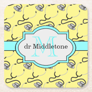 Funny stethoscopes for doctors on yellow name square paper coaster