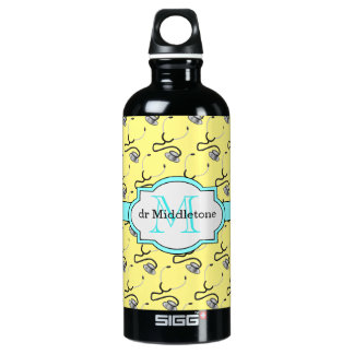 Funny stethoscopes for doctors on yellow name water bottle
