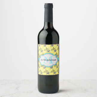 Funny stethoscopes for doctors on yellow name wine label