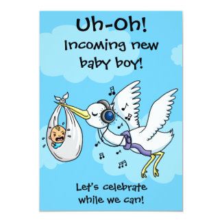 "Funny stork and screaming baby shower card 5"" x 7"" invitation card"
