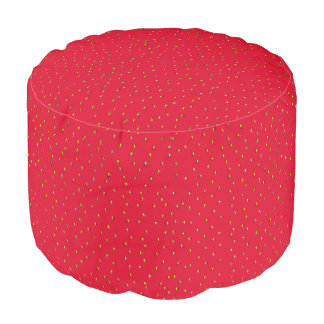 Funny strawberry background red pouf
