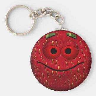 Funny Strawberry Smiley Keychain
