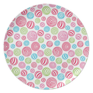 Funny Striped Candies in pastel colors: blue, pink Party Plates