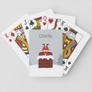 Funny Stuck Santa custom name playing cards