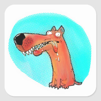 funny stupid dog cartoon square sticker