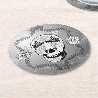Funny sugar skull round paper coaster
