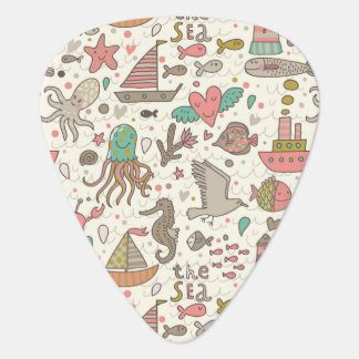 Funny Summer Pattern With Ships Guitar Pick