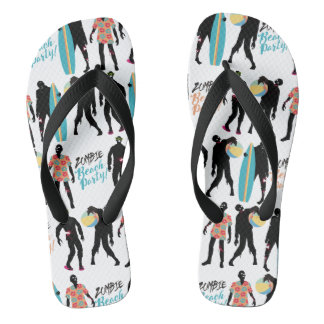 Funny summer zombie beach party just got real flip flops