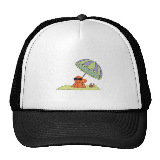 funny sun tanning beach octopus trucker hat