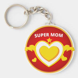 Funny Superhero Flash Mom emblem Basic Round Button Keychain