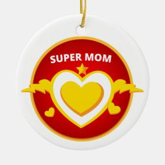Funny Superhero Flash Mom emblem Ceramic Ornament