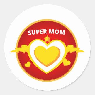 Funny Superhero Flash Mom emblem Classic Round Sticker