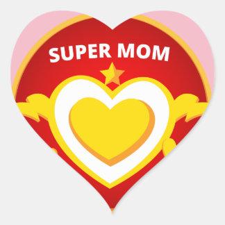 Funny Superhero Flash Mom emblem Heart Sticker