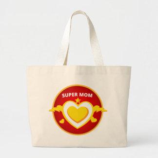 Funny Superhero Flash Mom emblem Large Tote Bag