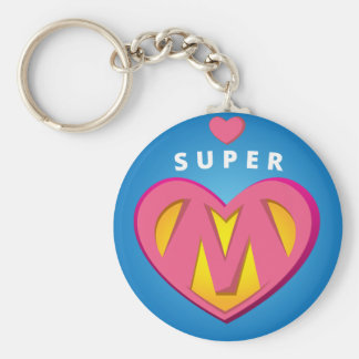 Funny Superhero Superwoman Mom emblem Basic Round Button Keychain