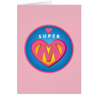 Funny Superhero Superwoman Mom emblem Card