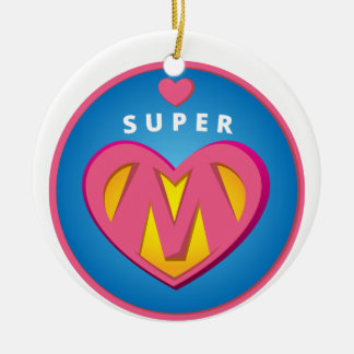 Funny Superhero Superwoman Mom emblem Ceramic Ornament